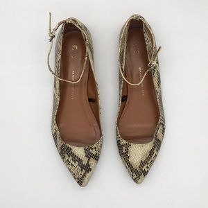 GAP Snake Print Pointed Flats Ankle Strap Size 9